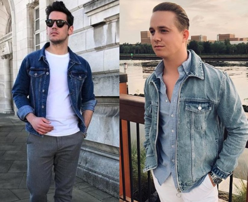 5157eb56a21 The gentleman on the left has a traditional high contrast complexion (dark  hair + light skin) and the darker wash jacket + white t-shirt is the  perfect high ...